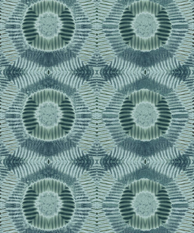 Aztec Suns Wallpaper in Hunter Green from the Shibori Collection by Milton & King
