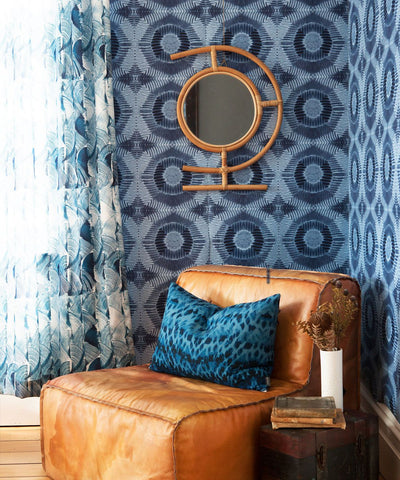 Aztec Suns Wallpaper in Indigo from the Shibori Collection by Milton & King