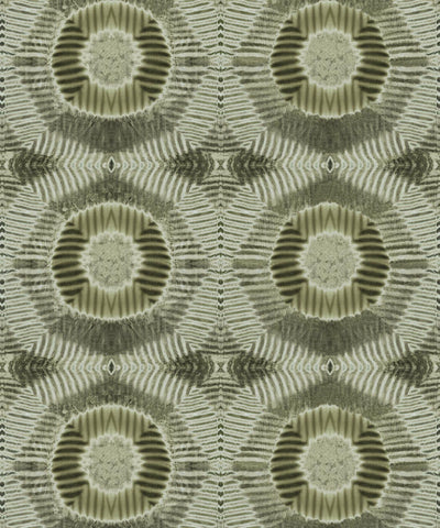 Aztec Suns Wallpaper in Olive from the Shibori Collection by Milton & King