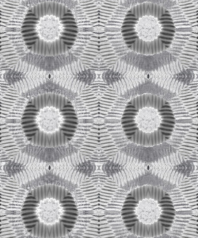 Aztec Suns Wallpaper in Silver from the Shibori Collection by Milton & King