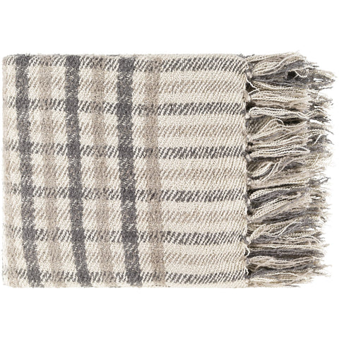 Barke BAK-1000 Hand Woven Throw in Beige & Charcoal by Surya