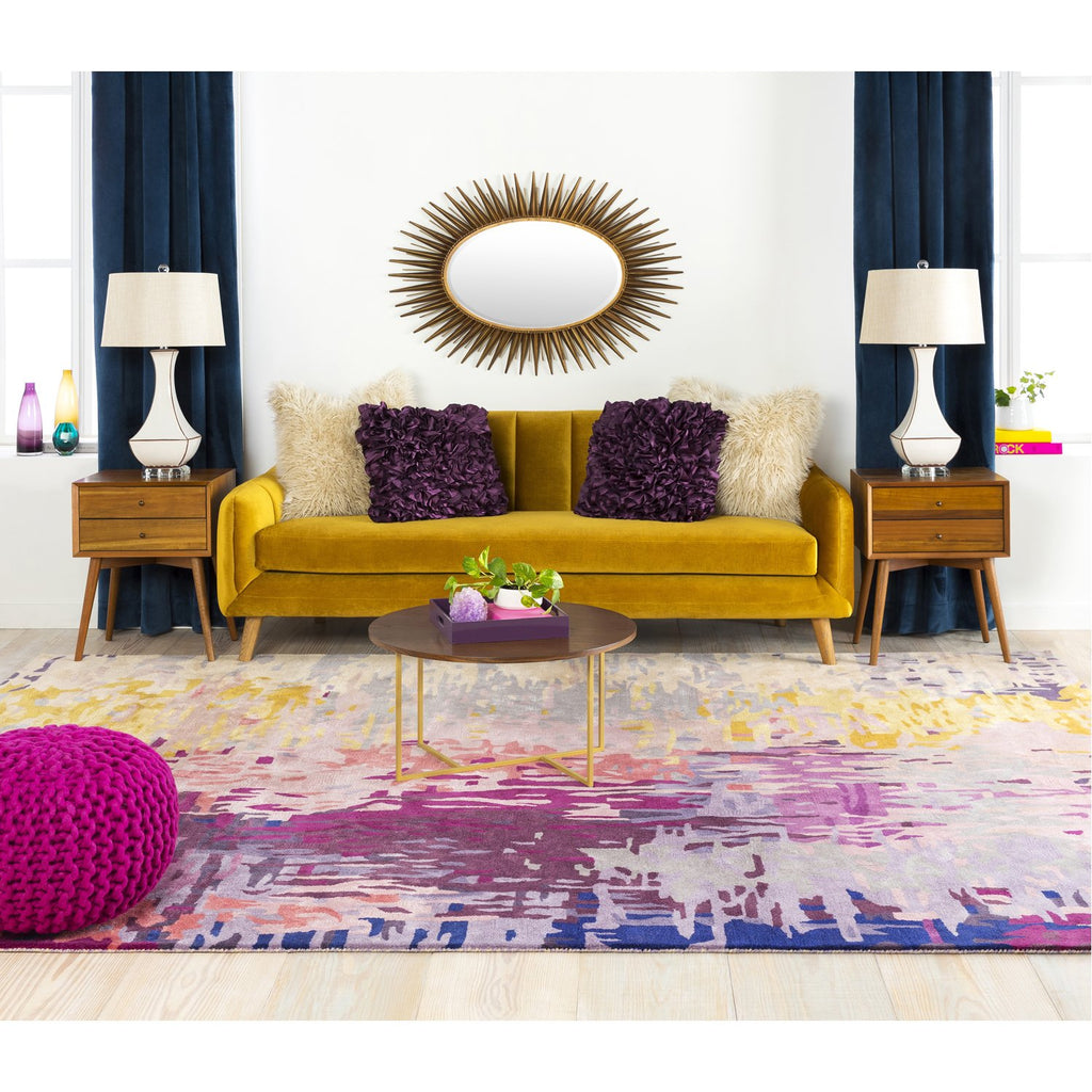 Banshee BAN-3344 Hand Tufted Rug in Dark Purple & Lime by Surya