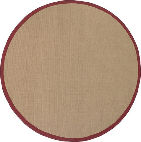 Bay Area Rug in Beige with Red Trim