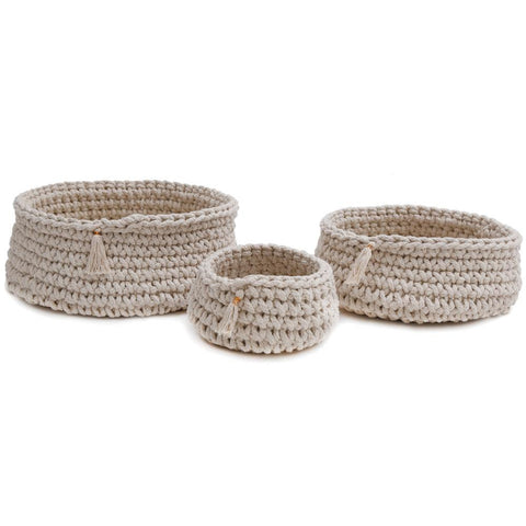 Baya Hand Woven Baskets in Ivory