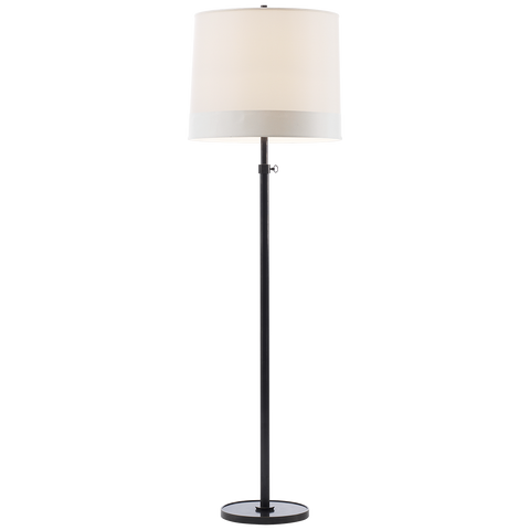 Simple Floor Lamp with Silk Banded Shade by Barbara Barry