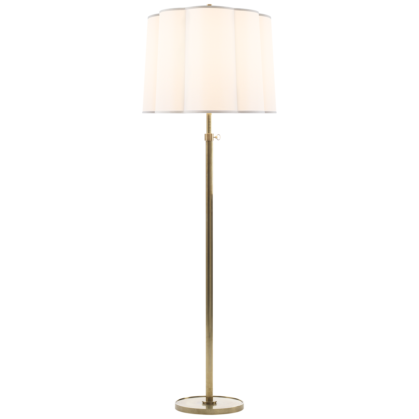Simple Floor Lamp in Soft Brass with Silk Scalloped Shade