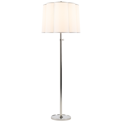 Simple Floor Lamp with Silk Scalloped Shade by Barbara Barry