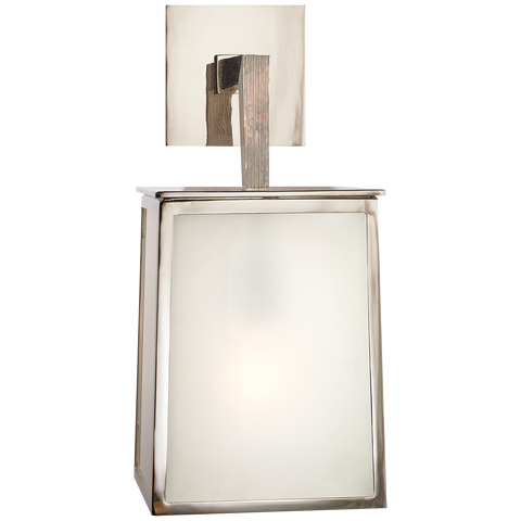 Ojai Large Sconce in Polished Nickel with Frosted Glass by Barbara Barry