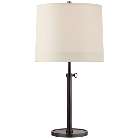 Simple Adjustable Table Lamp with Silk Banded Shade by Barbara Barry