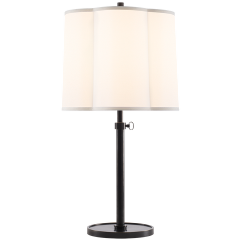 Simple Adjustable Table Lamp with Silk Shade by Barbara Barry
