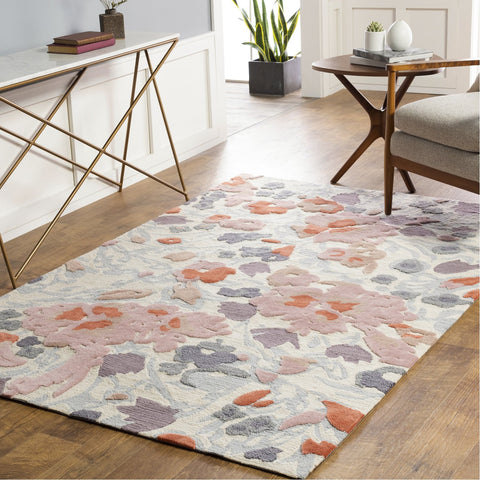 Botanical BCN-1000 Hand Tufted Rug in Rose & Rust by Surya