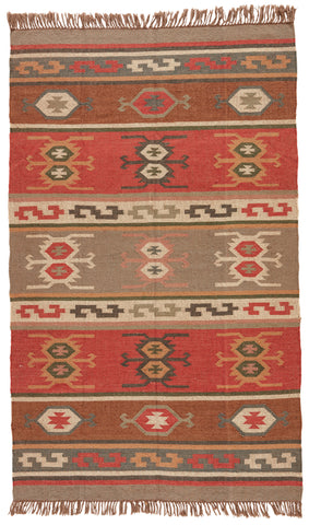 Thebes Geometric Rug in Cardinal & Mustard Gold design by Jaipur