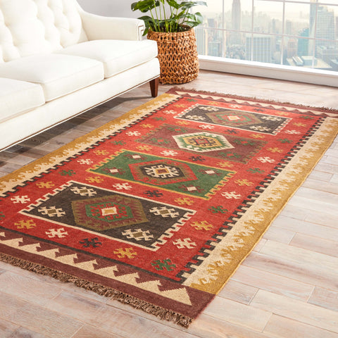 Amman Geometric Rug in Zinfandel & Wood Thrush design by Jaipur