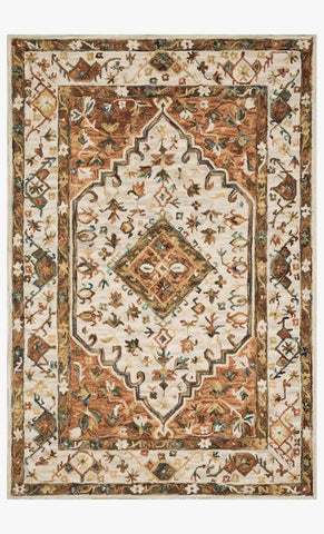 Beatty Rug in Ivory & Rust by Loloi II