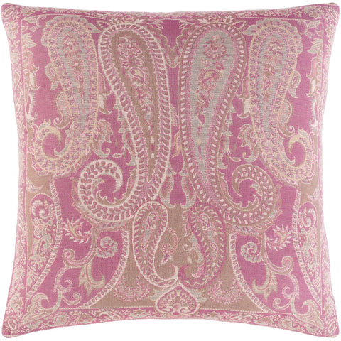 Boteh BEH-002 Woven Square Pillow in Bright Pink & Cream by Surya