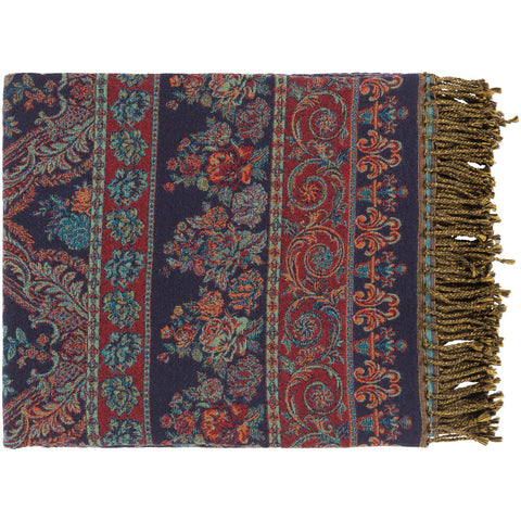 Boteh BEH-1000 Jacquard Throw in Navy and Bright Red by Surya