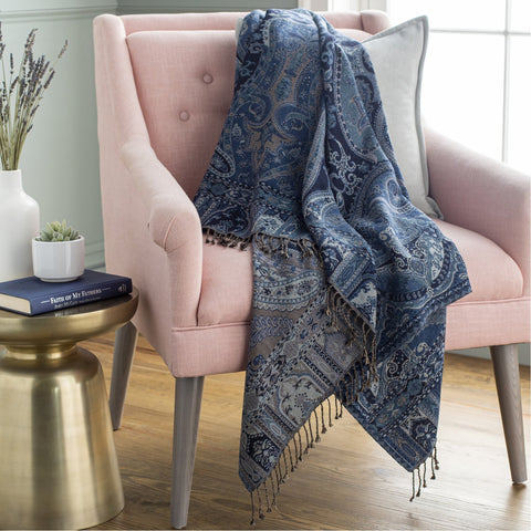 Boteh BEH-1001 Jacquard Throw in Navy by Surya