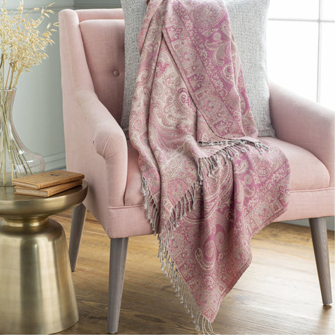 Boteh BEH-1002 Jacquard Throw in Bright Pink & Ivory by Surya