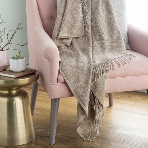 Boteh BEH-1003 Jacquard Throw in Cream & Taupe by Surya