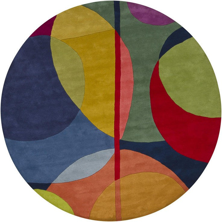 Bense Collection Hand-Tufted Area Rug, Multi-Color Circles design by Chandra rugs