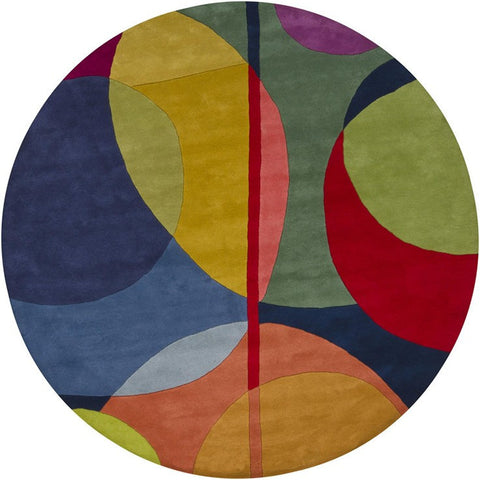 Bense Collection Hand-Tufted Area Rug, Multi-Color Circles