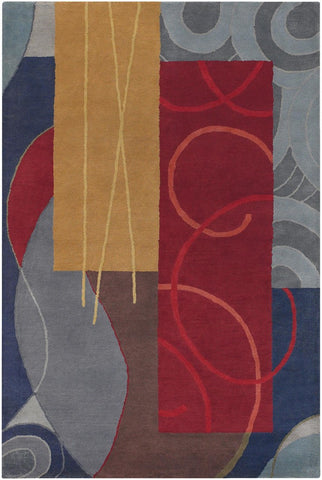 Bense Collection Hand-Tufted Area Rug, Multi-Color Rectangles