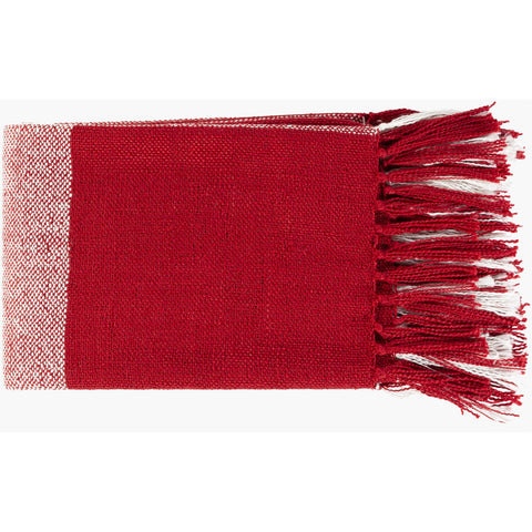 Bufflonne BFN-1000 Hand Woven Throw in Dark Red by Surya