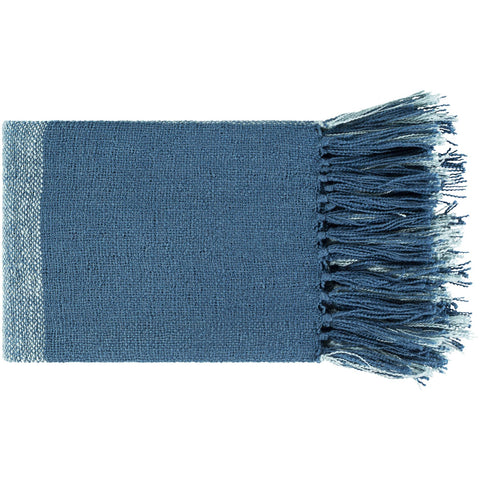 Bufflonne BFN-1002 Hand Woven Throw in Bright Blue by Surya