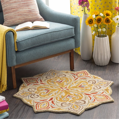 Bonifate BFT-1023 Hand Tufted Rug in Mustard & Brick by Surya