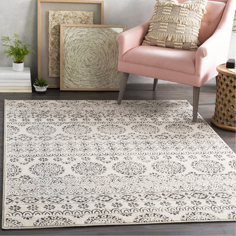 Bahar BHR-2323 Rug in Charcoal & Beige by Surya