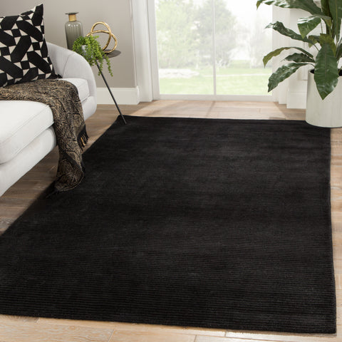 Basis Handmade Solid Black Area Rug