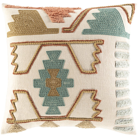 Bisbee II BIB-001 Knitted Square Pillow Beige & Teal by Surya