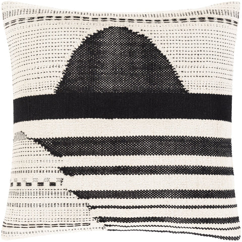 Banksia BKA-001 Hand Woven Square Pillow in Beige & Black by Surya