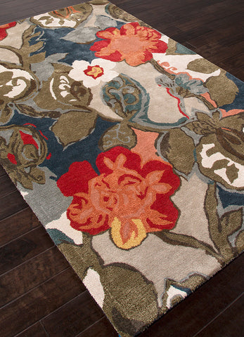 Petal Pusher Handmade Floral Multicolor & Gray Area Rug