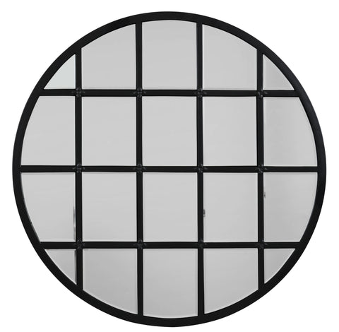 Round Metal Grid Mirror with Paned Beveled Glass design by Jamie Young