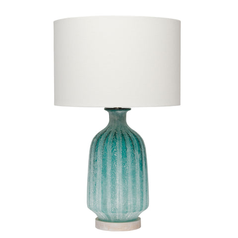 Aqua Frosted Glass Table Lamp with Shade design by Jamie Young