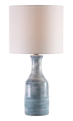 Bungalow Table Lamp with Shade – Blue & White Swirl UNO Socket design by Jamie Young