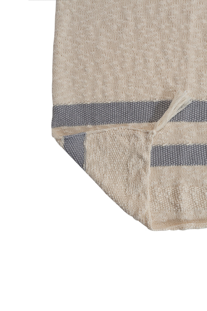 Knitted Stripes Blanket in Natural & Grey