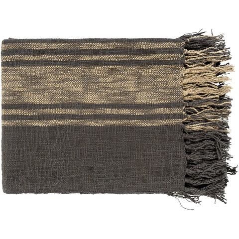 Bramble BLE-1000 Knitted Throw in Charcoal & Khaki by Surya