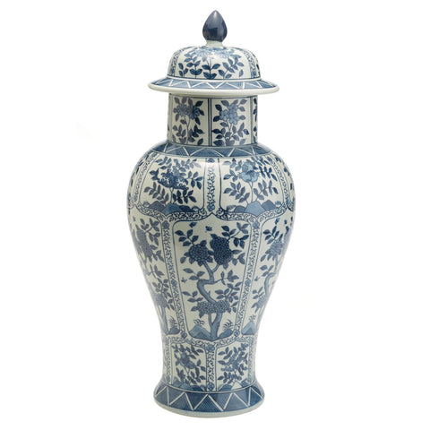 Blue and White Chrysanthemum Flower Covered Temple Jar design by Tozai