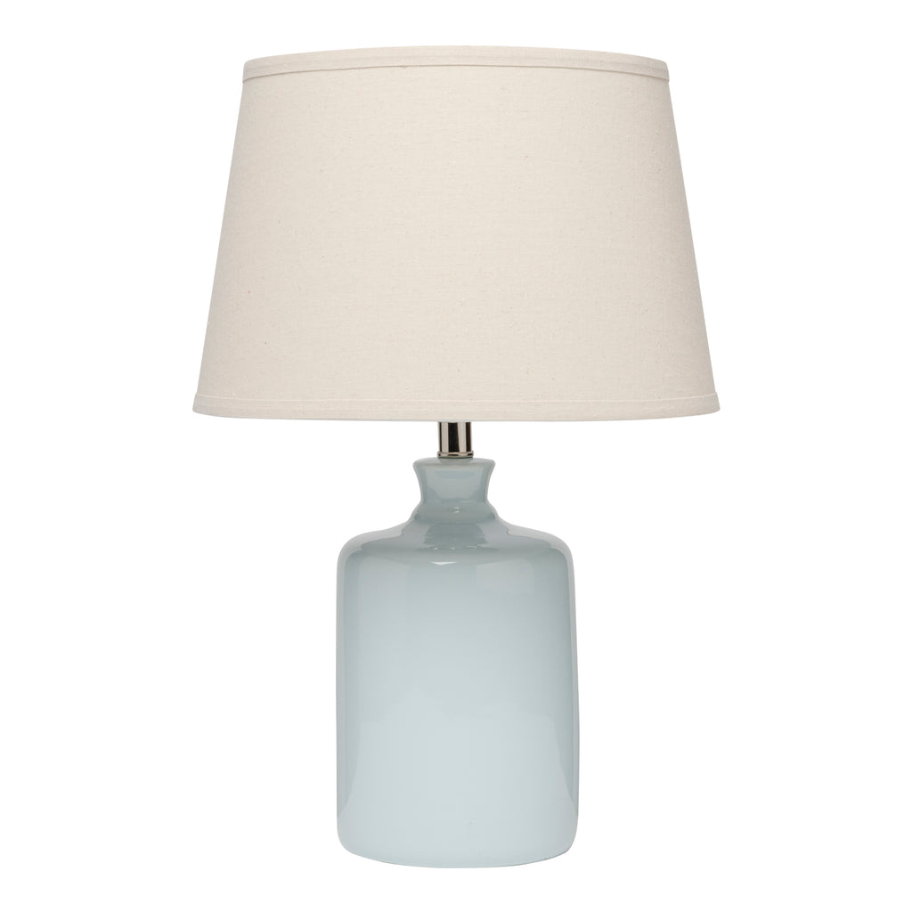Light Blue Milk Jug Table Lamp with Tapered Shade design by Jamie Young