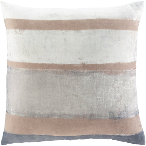 Balliano BLN-002 Woven Square Pillow in Light Gray & Beige by Surya