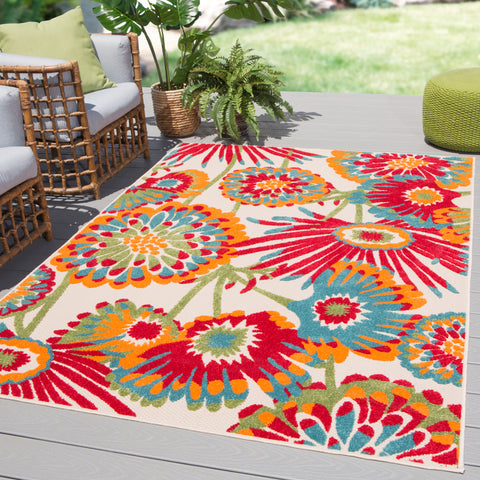 Balfour Indoor/Outdoor Floral Multicolor Rug design by Jaipur