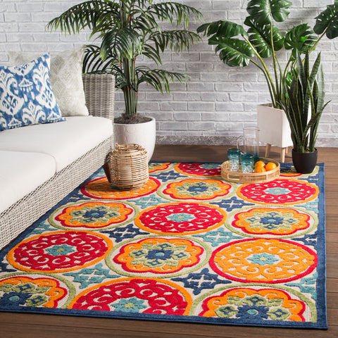 Tela Indoor/ Outdoor Medallion Multicolor Area Rug