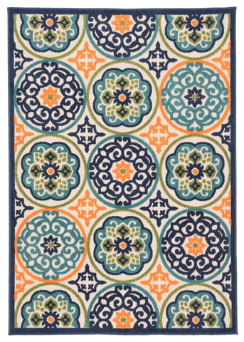 Tela Indoor/Outdoor Medallion Multicolor Rug design by Jaipur