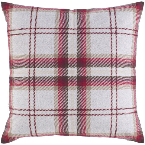 Benji BNJ-001 Knitted Square Pillow in Burgundy & Taupe by Surya