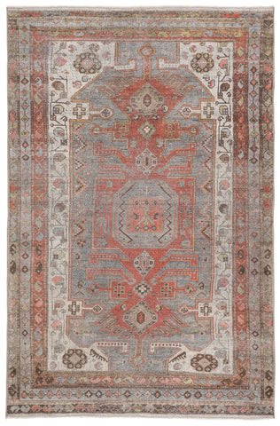 Palazza Medallion Gray/ Orange Rug by Jaipur Living