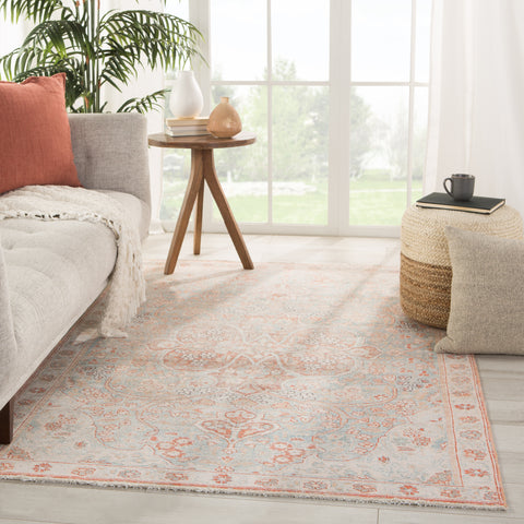 Fay Medallion Orange/ Light Blue Rug by Jaipur Living