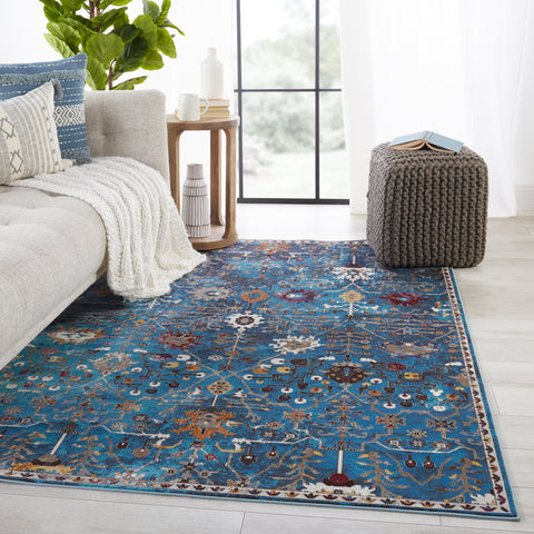 Zaniah Trellis Rug in Blue & Multicolor by Jaipur Living