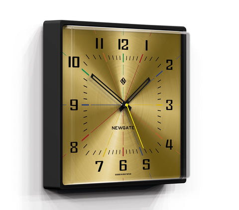 Box Office Clock in Black and Spun Brass Dial